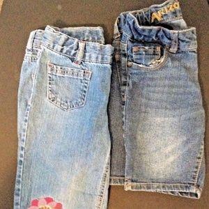 2 Girls Jeans Bermuda Long Shorts size 7